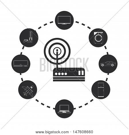 Internet tv computer washer car fridge laptop airplane fan and videogame icon. Internet of Things and media theme. Vector illustration
