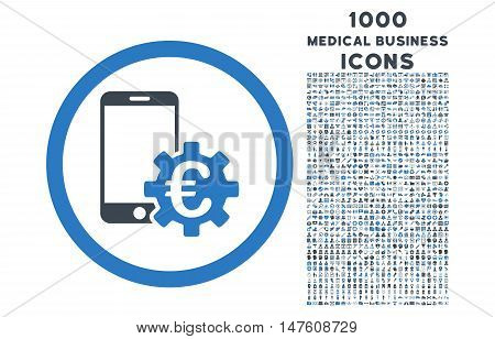 Configure Mobile Euro Bank rounded vector bicolor icon with 1000 medical business icons. Set style is flat pictograms, smooth blue colors, white background.