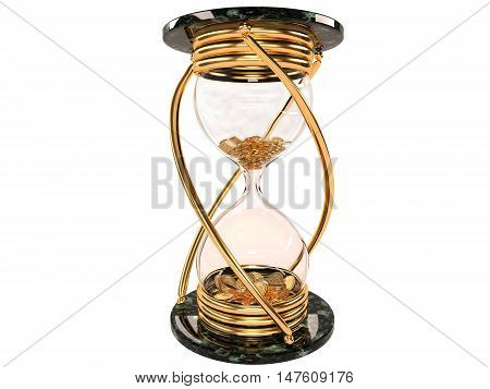 time is money hourglass with gold coins on a white background