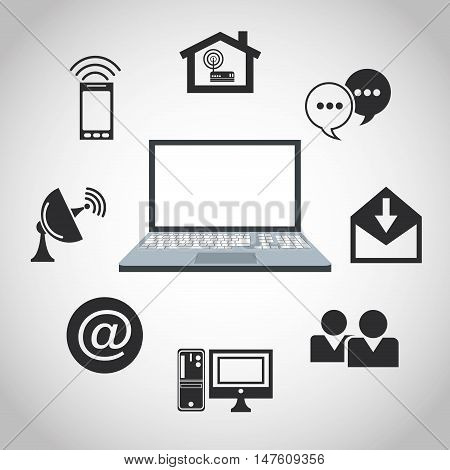 Laptop house bubble envelope computer people email antenna smartphone icon. Internet of Things and media theme. Vector illustration
