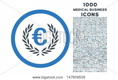 Euro Glory rounded vector bicolor icon with 1000 medical business icons. Set style is flat pictograms, smooth blue colors, white background.