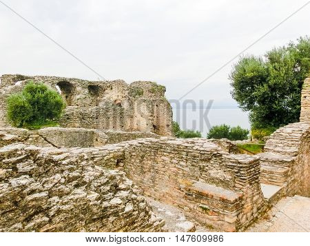 Ruins of Catullus Caves, roman villa in Sirmione, Garda Lake, Italy