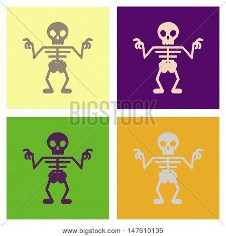 assembly of flat icons halloween skeleton anatomy