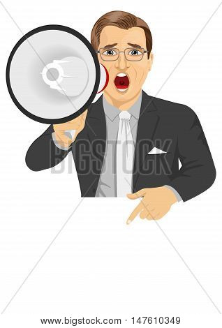 businessman shouting with megaphone pointing to billboard with text for copyspace. Business concept