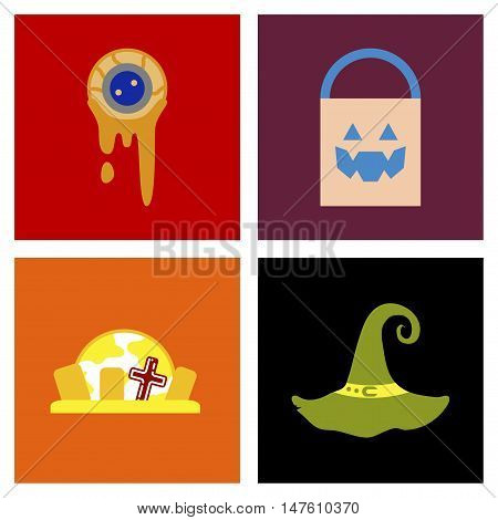 assembly of flat icons halloween zombie eyes bag gravestone witch hat