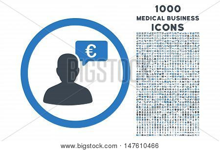 European Person Opinion rounded vector bicolor icon with 1000 medical business icons. Set style is flat pictograms, smooth blue colors, white background.