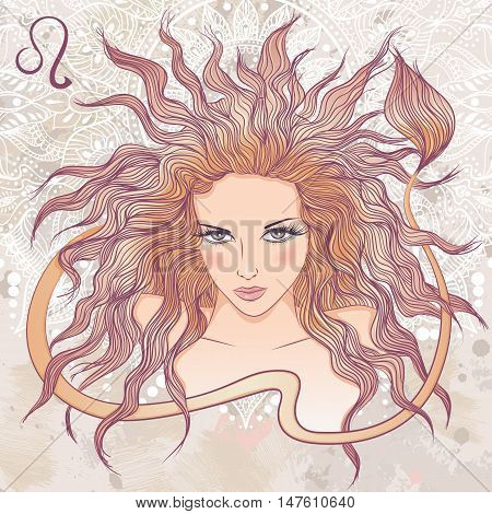 Zodiac. Vector illustration of the astrological sign of Leo as a portrait beautiful girl with long hair. The illustration on decorative grunge background in retro colors
