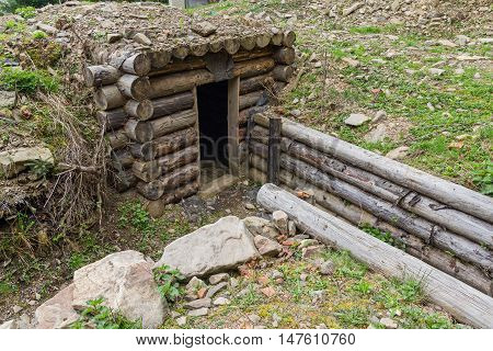 Trench dug-out or during the Second World War on the Line of Arpad. Ukraine