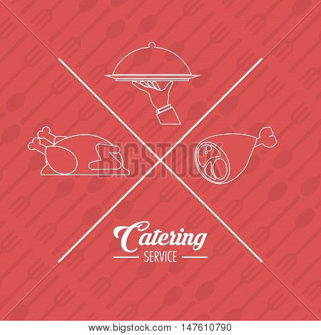 Chicken plate and hant icon. Catering service restaurant and menu theme. Vector illustration