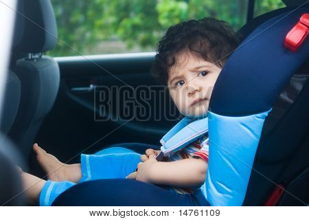 baby boy in car seat