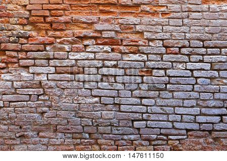 Brick Wall With White Paint Ruin Derelict
