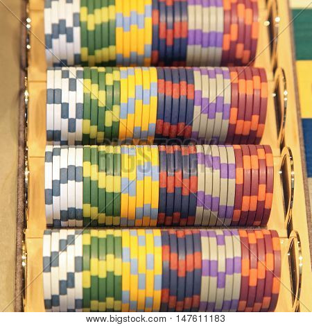 Set of Colorful Casino Gambling Tokens Chips