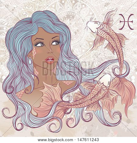 Zodiac. Vector illustration of the astrological sign of Pisces as a portrait beautiful african american girl with long hair. The illustration on decorative grunge background in retro colors