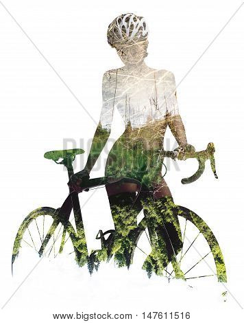 Silhouette of a naked woman with bicycle combined with a nature. Double exposure on a white background