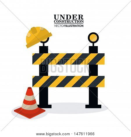 Barrier and cone icon. Under construction and repair theme. Isolated and colorful design. Vector illustration