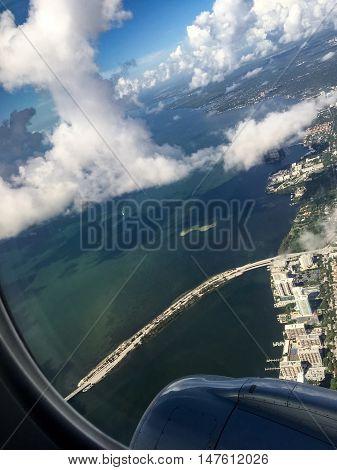 Airplane View Of Tropical Ocean