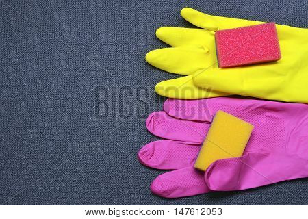 Latex cleaning gloves and sponges.Cleaning equipment.Cleaning concept.    .