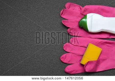 Latex cleaning gloves with detergent and sponge.Cleaning equipment.