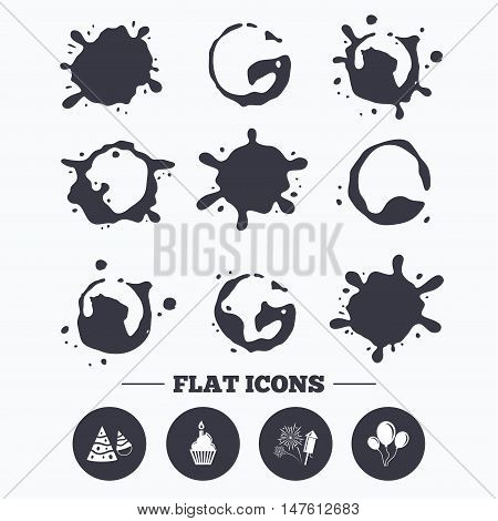 Paint, coffee or milk splash blots. Birthday party icons. Cake, balloon, hat and muffin signs. Fireworks with rocket symbol. Cupcake with candle. Smudges splashes drops. Vector