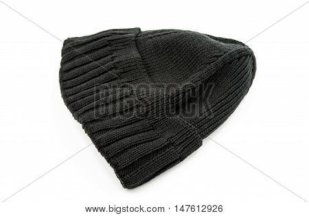 knitted cap wool on a white background