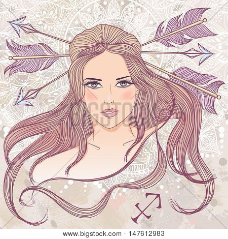 Zodiac. Vector illustration of the astrological sign of Sagittarius as a portrait beautiful girl with long hair. The illustration on decorative grunge background in retro colors