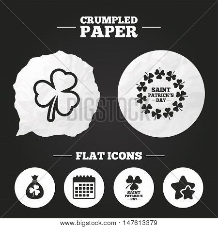 Crumpled paper speech bubble. Saint Patrick day icons. Money bag with clover sign. Wreath of trefoil shamrock clovers. Symbol of good luck. Paper button. Vector