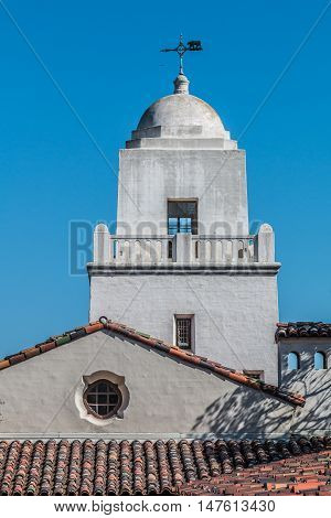 SAN DIEGO, CALIFORNIA - AUGUST 13, 2016: Tower of the Serra Mission Museum in Old Town, the former site of a fort and the first European settlement on the Pacific Coast, established in 1769.