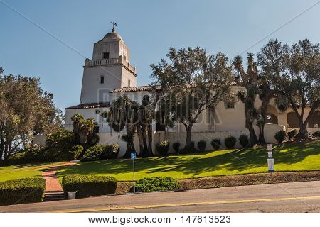 SAN DIEGO, CALIFORNIA - AUGUST 13, 2016: Serra Mission Museum in Old Town, the former site of a fort and mission, established by Father Junipero Serra.