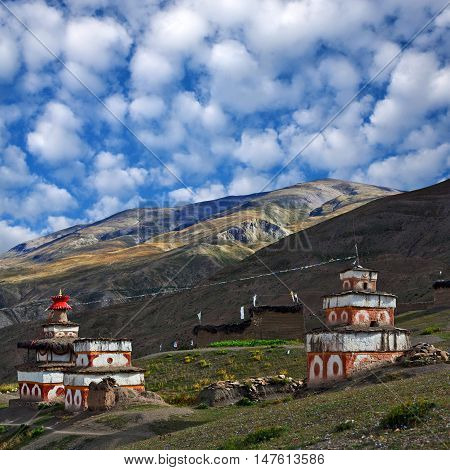 Ancient Bon stupa in Saldang village Nepal. Saldang lies in Nankhang Valley the most populous of the sparsely populated valleys making up the culturally Tibetan region of Dolpo.
