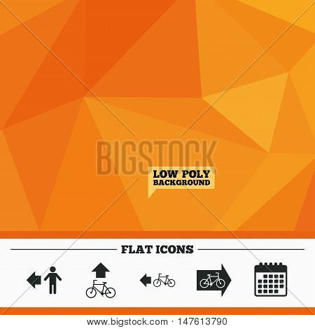 Triangular low poly orange background. Pedestrian road icon. Bicycle path trail sign. Cycle path. Arrow symbol. Calendar flat icon. Vector