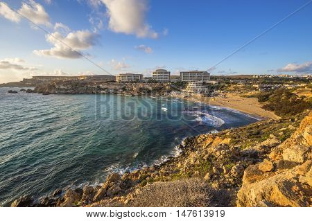 Malta - Golden Bay malta's most beautiful sandy beach at sunset
