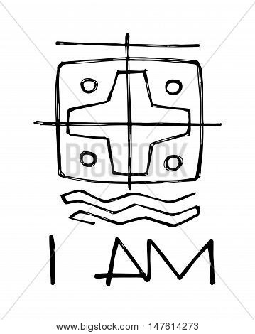Hand drawn vector illustration or drawing of a religious symbol and the phrase: I am