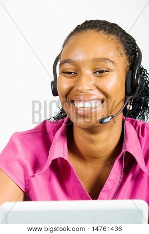 happy african american telemarketing consultant