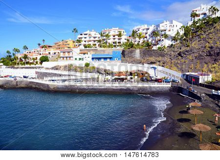 View of Puerto Santiago beach in Los Gigantes,Tenerife,Canary Islands,Spain.