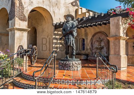 SAN DIEGO, CALIFORNIA - AUGUST 13, 2016: The Mormon Battalion historic site in Old Town, honoring the Mormons soldiers who fought during the Mexican War in 1847.