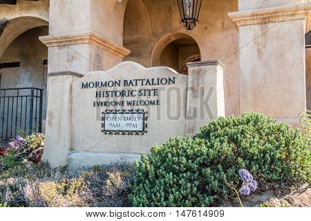 SAN DIEGO, CALIFORNIA - AUGUST 13, 2016: Entrance to the Mormon Battalion historic site in Old Town, honoring the Mormons soldiers who fought during the Mexican War in 1847.