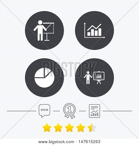 Diagram graph Pie chart icon. Presentation billboard symbol. Supply and demand. Man standing with pointer. Chat, award medal and report linear icons. Star vote ranking. Vector