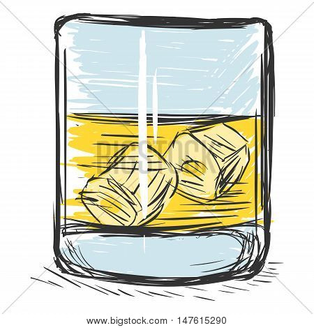 Vector Color Sketch Glass Of Whiskey
