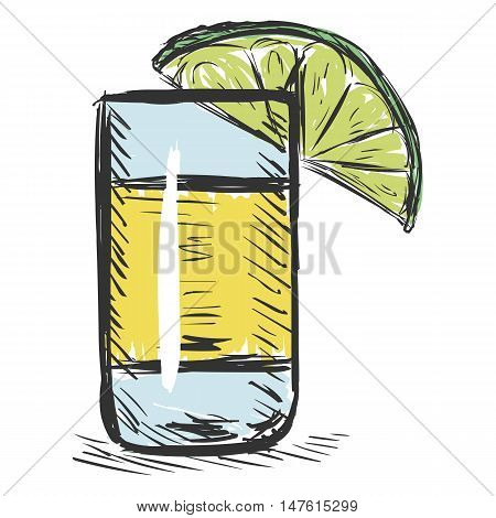 Vector Color Sketch Shot Of Tequila With A Lime