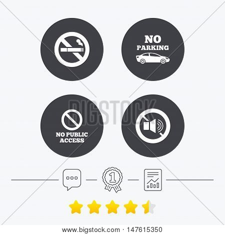 Stop smoking and no sound signs. Private territory parking or public access. Cigarette symbol. Speaker volume. Chat, award medal and report linear icons. Star vote ranking. Vector