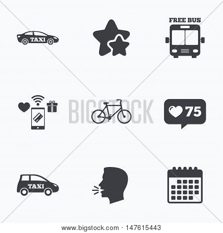 Public transport icons. Free bus, bicycle and taxi signs. Car transport symbol. Flat talking head, calendar icons. Stars, like counter icons. Vector