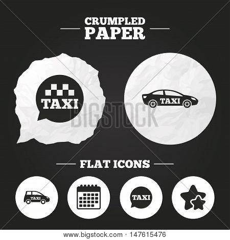 Crumpled paper speech bubble. Public transport icons. Taxi speech bubble signs. Car transport symbol. Paper button. Vector