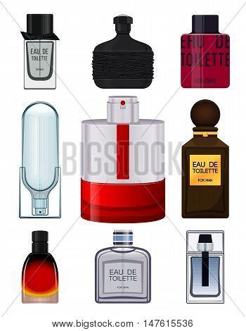 Set perfume bottle on white background. Perfume bottle for men. Male fragrance. Eau de toilette. Vector illustration