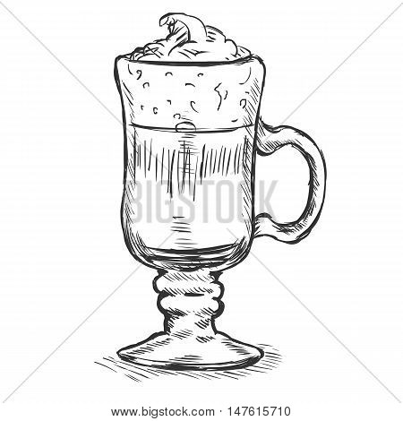 Vector Sketch Glass With Irish Coffee
