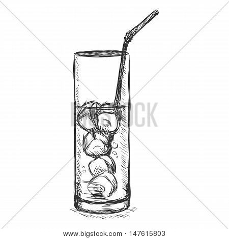 Vector Sketch Glass Of Lemonade On The Rocks With A Straw