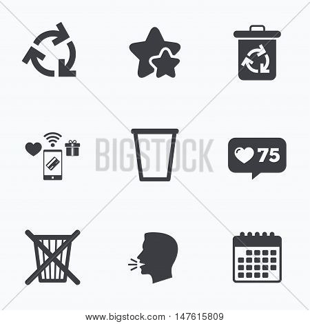 Recycle bin icons. Reuse or reduce symbols. Trash can and recycling signs. Flat talking head, calendar icons. Stars, like counter icons. Vector
