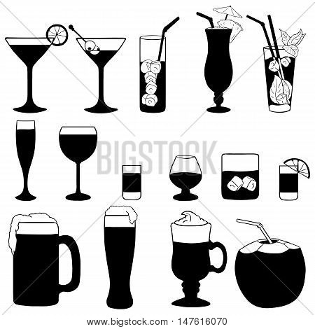 Vector Set Of Cocktails And Alcohol Drinks