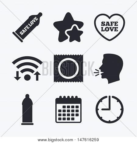 Safe sex love icons. Condom in package symbol. Fertilization or insemination. Heart sign. Wifi internet, favorite stars, calendar and clock. Talking head. Vector