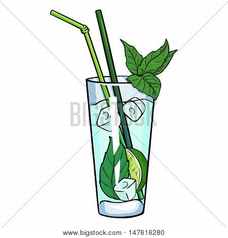 Vector Cartoon Cocktail Mojito With Mint Leaves And Straws.