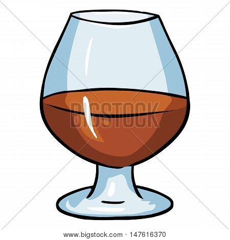 Vector Cartoon Galss Of Cognac